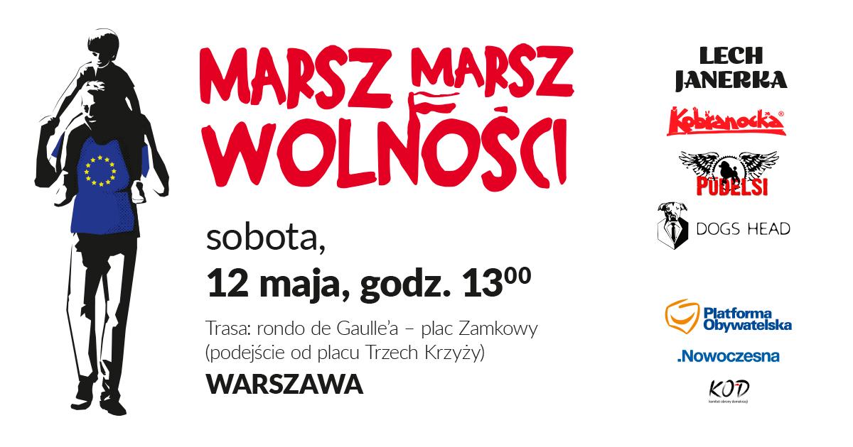 MARSZ EUROPEJSKI 12 maja, godz.13:00 w Warszawie, rondo gen. Charles'a de Gaulle'a